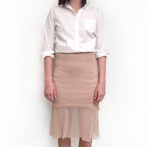 Ohne Titel Nude stretch panel bodycon midi skirt